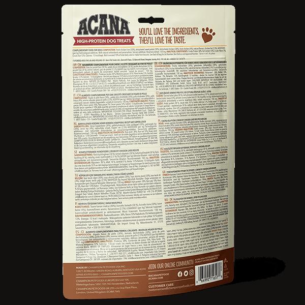 ACANA High Protein Treats Crunchy Chicken Liver Recipe Back Right 100g